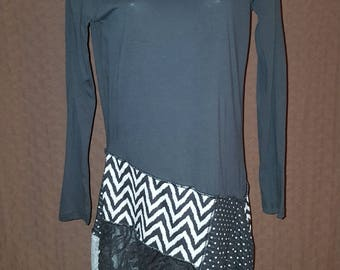 Black & Gray Patchwork Tunic