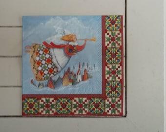 set of 2 Angel Christmas paper napkins