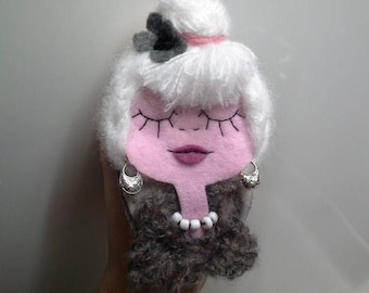 Felt Brooch Portrait Art Doll Cat Lady Grey