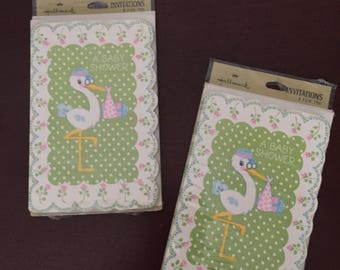 16 Vintage Stork fill in Baby Shower Invitations