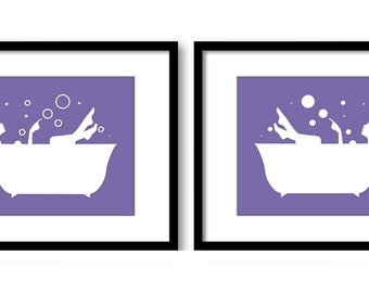 Bathroom Decor Bathroom Print Purple White Girls in a Bathtub Tub Set of 2 Bathroom Art Prints Wall Decor Modern Minimalist