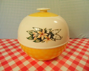Vintage Cookie Jar - Yellow Plastic - Flower Decal - Burroughs Mfg