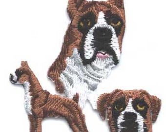 Embroidered BOXER Dog Breed Iron-on/Sew on Patch Badge Applique DIY....choose ears up or down