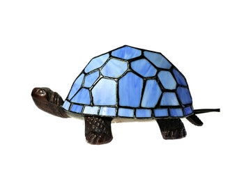 Tiffany Style Blue Stained Glass Turtle Tortoise Lamp Night Light