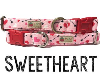 "Light Pink Red Pink Glitter Arrows Hearts Love Girl Valentine Dog Collar - Organic Cotton - Antique Metal Hardware - ""Sweetheart"""
