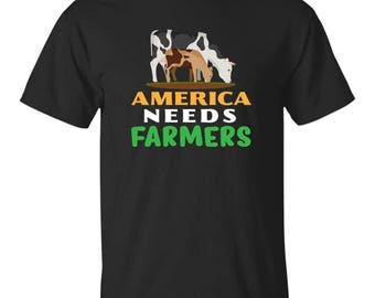 America Needs Farmers, Gift for Farmers, Farmer shirts,  farming shirts, Farmer Tshirts, Farming Tshirts, Farmer T Shirt, Farmer T-Shirt