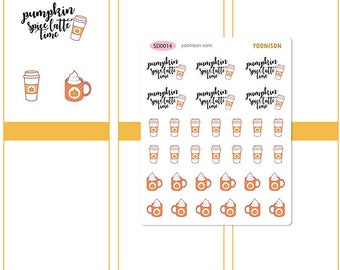 Pumpkin Spice Latte Time Hot Take out Fall Autumn Starbucks Planner Stickers Erin Condren Kikki K Filofax Travelers Notebook Midori SD0014