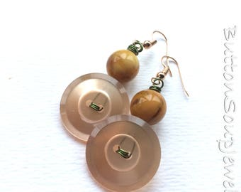 Peach and Mustard Yellow Vintage Button Earrings with Green Wire