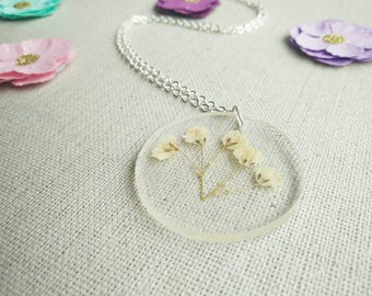 Baby's Breath Necklace- Pressed Flower Necklace- Real Flower Necklace- Floral Jewelry- Flower Necklace- Baby's Breath-  Keepsake Jewellery