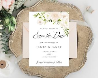 Printable Save The Date Invitation, White Floral Invitation, White Lillies, Printable Wedding Invitation, Simple, Editable Invitation, Boho