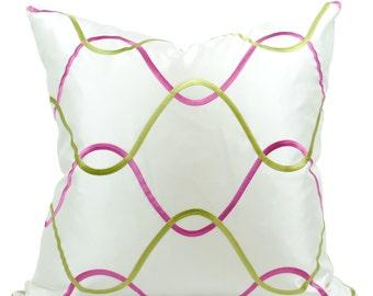 Pink & Green Trellis Pattern Decorative Pillow Cover