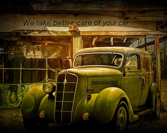 We take Better Care of Your Car, An Abandoned Auto Service Station, with Vintage Junk Auto, A Fine Art, Automobile Photograph