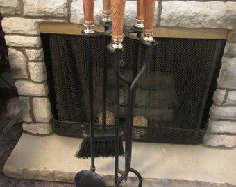 FIREPLACE TOOL SET;  Wood handle black iron shovel, broom brush, poker and black metal tongs in stand  (15 f )