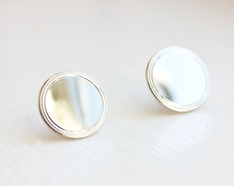 Silver Circle Studs, Silver Studs, Simple Silver Studs, Large Silver Studs, Round Silver Studs, Round Studs, Classic Studs, Frame Studs