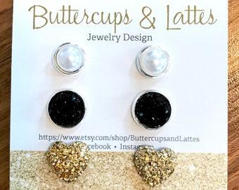 Pearl Black Druzy and Gold Heart Druzy Stud Earrings Set, Tuxedo Valentine Set