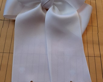 Solid White Hairbow with tails