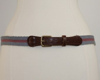 SALE Preppy Canvas and Leather Belt Size 34 to 38