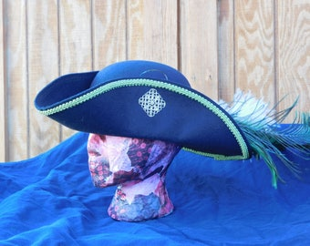 Black Pirate Wool  Felt Hat with Green trim