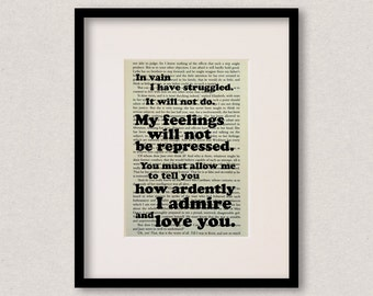 """Pride And Prejudice quote print - Mr Darcy - Engagement gift - Wedding gift -  """"In vain I have struggled"""""""