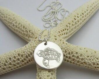 Sea Turtle Necklace, Silver Sea Turtle, Silver Turtle Necklace, Beach Lover Gift, Sea Turtle Gift, Small Sea Turtle, Zentangle