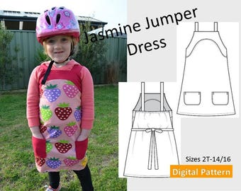 Toddler, Girls Jumper Dress & Top - Sizes 2T, 3T, 4T, 5, 6, 8, 10 ,12, 14, 16 - Downloadable PDF Sewing Pattern, Pockets, Adjustable Straps