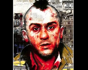 "Print 11x14"" - Travis Bickle - Taxi Driver Robert De Niro New York City 70s Punk Indie Hipster Mohawk Blood Portrait Guns Insomnia Pop"