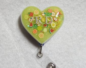Registered dietician name badge holder with fruit detail