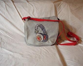 Repurposed Denim Messenger Bag with headphones embroidery