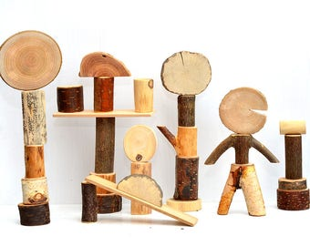 Natural wood toy, 30 tree blocks, Wooden building blocks, Wooden toy, Wood organic personalized blocks, Montessori and waldorf inspired toy