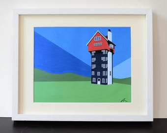 House in the Clouds Mounted Fine Art Print - Thopeness - Suffolk - by Rebecca Pymar