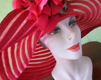 Sheer Red Curvy Scallop Brim Braid Sun Shade Hat Satin Red Silk Flower