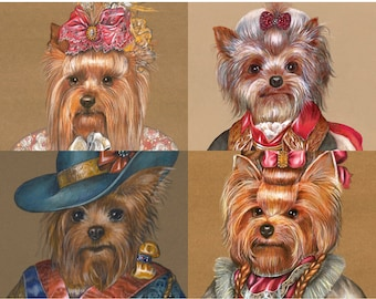 Yorkie Society - 4 Art Prints - Yorkshire Terrier Art - Dogs in Clothes - Funny Pet Portraits by Maria Pishvanova