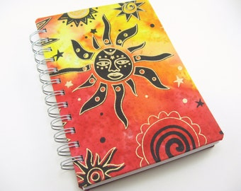 5 x 7 travel journal, sketchbook journal, art journal, sun fabric journal cover, prayer journal, notebook, writing, spiral bound book