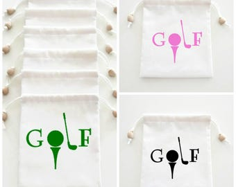 Golf Tournament, Prize Gift Bags, Golf Drawstring Pouch, Accessories Bag, Golf Birthday Gift For Men and Women, Natural Muslin Gift Bags