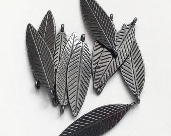 16 pcs Gunmetal double sided feather drop 30x10mm, alloy feather charm, black feather charm