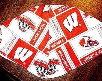 University of Wisconsin Badgers kippah or yarmulke great NCCA sports kippah great gift for him college alumus