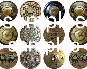 """1"""" Inch Vintage Steampunk Safe Dials Flatback, Pinback or Magnets 12 Ct."""