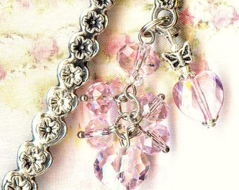 Bookmark ❀ hearts pink Crystal flowers MP192 ❀