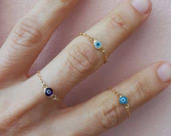 Evil eye ring. Evil eye chain ring. Gold fill evil eye ring. Dainty evil eye ring.  Sterling silver evil eye ring. Midi ring. Stacking ring.