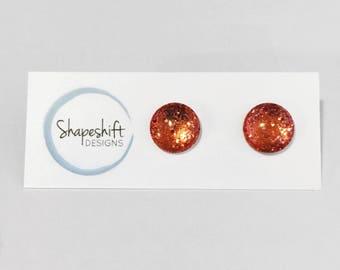 12mm Glass Glitter Stud Earrings - Copper