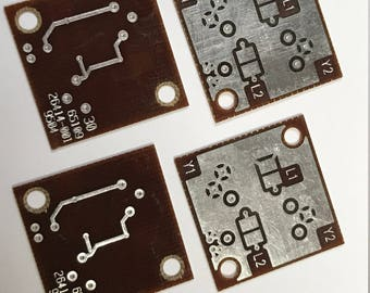 "Vintage RECYCLED Loose Printed Circuit Board (PCB) Dark Brown Silver  1"" Square Pkg4  PCB18"