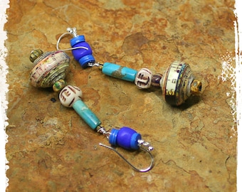Bohemian Tribal Earrings Mixed Media Hippie Gypsy Ethnic Gift for Her Turquoise Cobalt  Boho Chic Gift for Women OOAK Handmade
