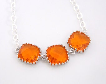 Orange Necklace, Glass Necklace, Orange Pendant, Sterling Silver, Tangerine, Carnelian, Bridesmaid Necklace, Bridal Jewelry, Bridesmaid Gif