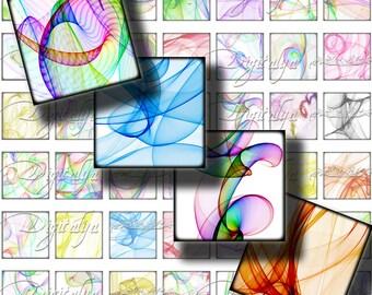 SOIE, soyeux tourbillons de couleurs sur les carrés blanc - feuille de Collage numérique - 1 x 1 ou 0,875 ou le scrabble - Buy 3 Get 1 supplémentaire gratuit