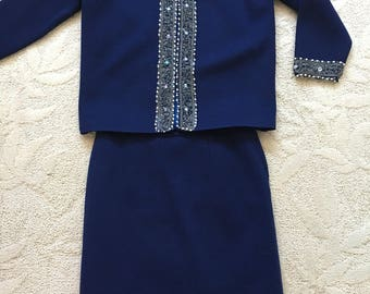 1960's Vintage Navy Blue Beaded Womens Knit Suit Jacket and Skirt Fully Lined Size Size 14- vintage womens knit suit, beaded suit jacket