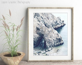 "California Coast Gray Blue Wall Art, Rock Arch Sea Cave Beach Print, Beach House Coastal Wall Art, 24x30 Large Wall Art ""Beach Cave"""