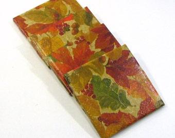Decoupaged Ceramic Coasters, Fall Leaves