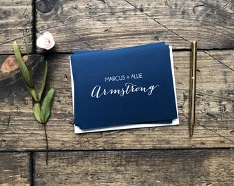 Navy Wedding Thank You Cards. Custom Wedding Cards. Wedding Thank You's. Personalized Wedding Gift. Navy Wedding Decor Stationery