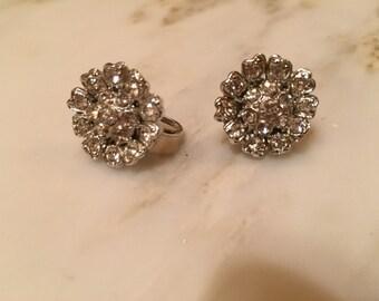 Vintage silver tone rhinestone screwback earrings