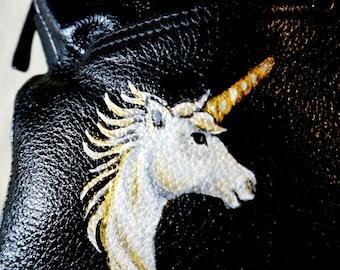 "Tiganello Large Leather Handbag, Many Compartments, ""Fantasy"" Unicorn Design, One of A Kind"